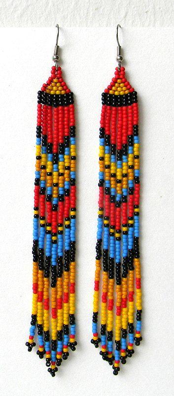 Extra long earrings Long dangle earrings Very par HappyBeadwork