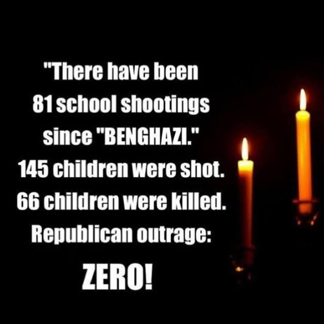 "There have been 81 school shootings since ""BENGHAZI."" 145 children were shot. 65 children were shot. Republican outrage: ZERO!"