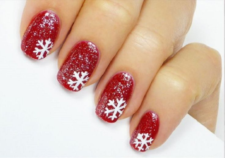 unghie-natale-rosse-fiocco-neve-bianco