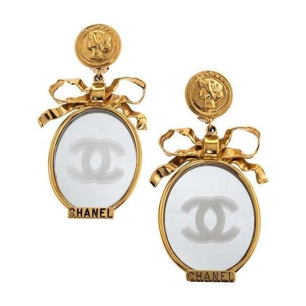 VINTAGE CHANEL LARGE MIRROR EARRINGS WITH BOWS ❤ liked on Polyvore featuring jewelry, earrings, bow earrings, mirrored jewelry, logo earrings, chanel jewelry and chanel jewellery