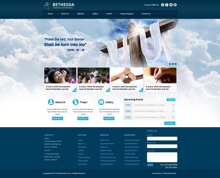 christian church website design home page layout