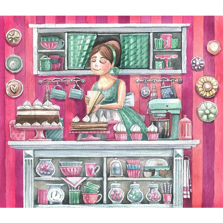 А вот и обещанная картинка💕💚. Пора бы переключиться на что то менее сладкое и розовое), но пока не могу. Когда нибудь и себе заведу медные формы для кексов, море стеклянных баночек, фарфоровые креманки... Но точно без розовых и мятных цветов. А какова ваша кухня мечты?😊