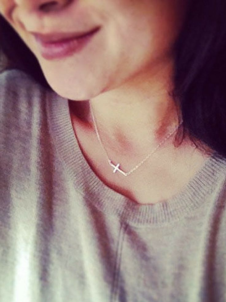 Delicate and minimalist sideways cross necklace #cross #christian #necklace #jewelry #simple #promoted #etsy