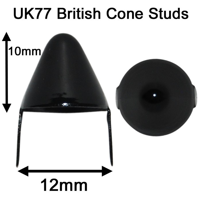 UK '77 Cone Studs Black (Pack of 100)  $22