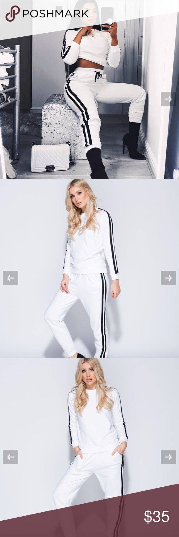 Side stripe lounge set Side stripe lounge set Cotton fabric  White/black Red/white Pants Jumpsuits & Rompers