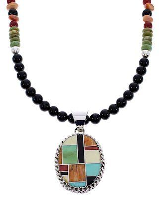 """Navajo Multicolor Silver Jewelry Pendant Bead Necklace Set MW69258 SilverTribe. $179.99. MATERIALS: Sterling silver, Coral, Kingman Turquoise, Oyster Shell, Emerald Valley Turquoise, Mediterranean Coral, Onyx, Spiny Oyster Shell, Turquoise and Gold Lip Mother of Pearl.. MEASUREMENTS: Pendant measures approximately 1-7/8"""" long (including bail) and 1"""" at widest point. Necklace measures approximately 21-7/8"""" long.. Southwestern Jewelry. Navajo Multicolor Silver Jewelry Pendant Be..."""