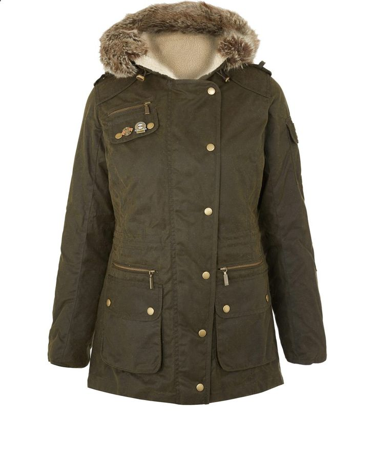 Barbour Olive Faux Fur Hood Waxed Cotton Parka | Women's Jackets | Liberty.co.uk