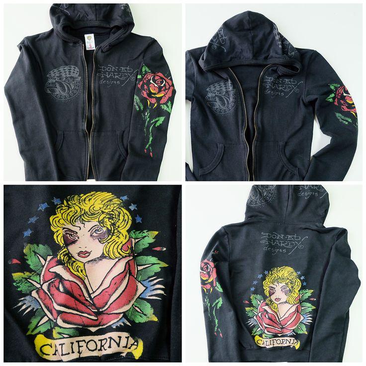 Vintage Japanese Tattoo Art Don Ed Hardy Black Hoodie California Rose Sukajan Souvenir Jacket - Japan Lover Me Store