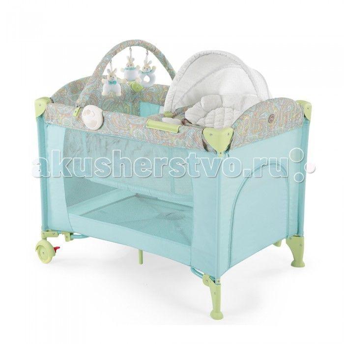 Манеж Happy Baby Lagoon V2  Манеж Happy Baby Lagoon V2 - это модель манежа 3 в 1: манеж-кроватка со вторым дном; шезлонг-качалка; манеж для игр.  На манеж быстро устанавливается второе дно при помощи застежки-молнии, благодаря чему, он превращается в кроватку, в которой малыша можно будет легко и с комфортом укачивать. Укачивание обеспечивают две съемные дуги по обеим сторонам манежа, поверхность которых защищена силиконовыми накладками для мягкого и тихого укачивания. Внимание малыша…