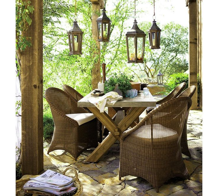 pottery-barn-outdoor-furniture-rustic-wicker-outdoor-, Photo  pottery-barn-outdoor-furniture-rustic-wicker-outdoor- Close up View.