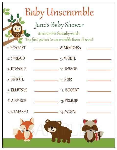 baby shower games unscramble