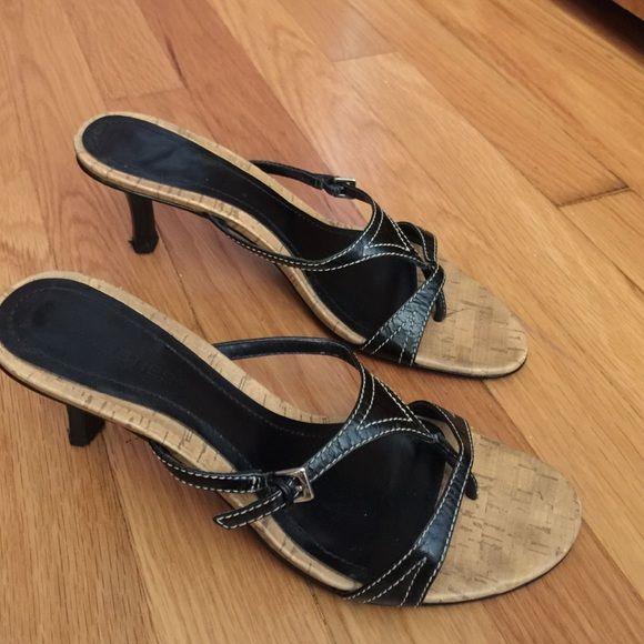 "Black sandals kitten heels Kitten heel stewpot sandals w/ 1 buckle for size adjustment.  Heel is 2.75"".  Very sexy and cute!  Shoes Sandals"