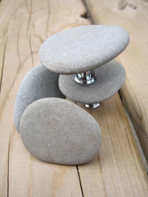 Beach pebble drawer knobs