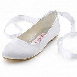 σατέν παπούτσια με στρογγυλεμένες άκρες νυφικά παπούτσια με ζώνη hx150004