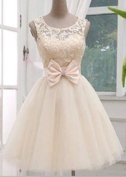 Champagne Lace Tulle Prom Dress