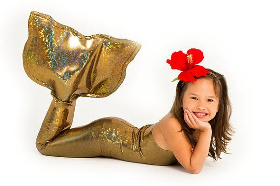 Gold One Piece Mermaid Tail Suit for Little by ApplejackApparel #etsy #halloween #costumes