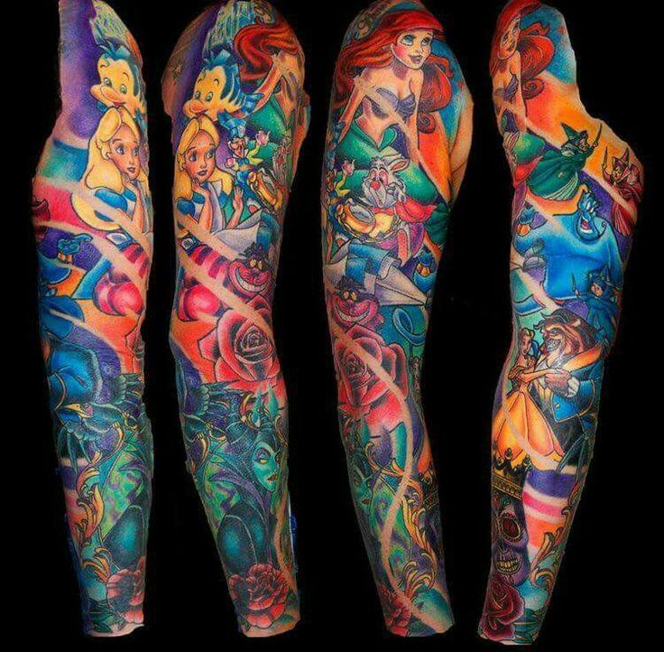 Color sleeve Disney Tattoo with Alice in Wonderland, Beauty and the Beast, The Little Mermaid, Aladdin, etc