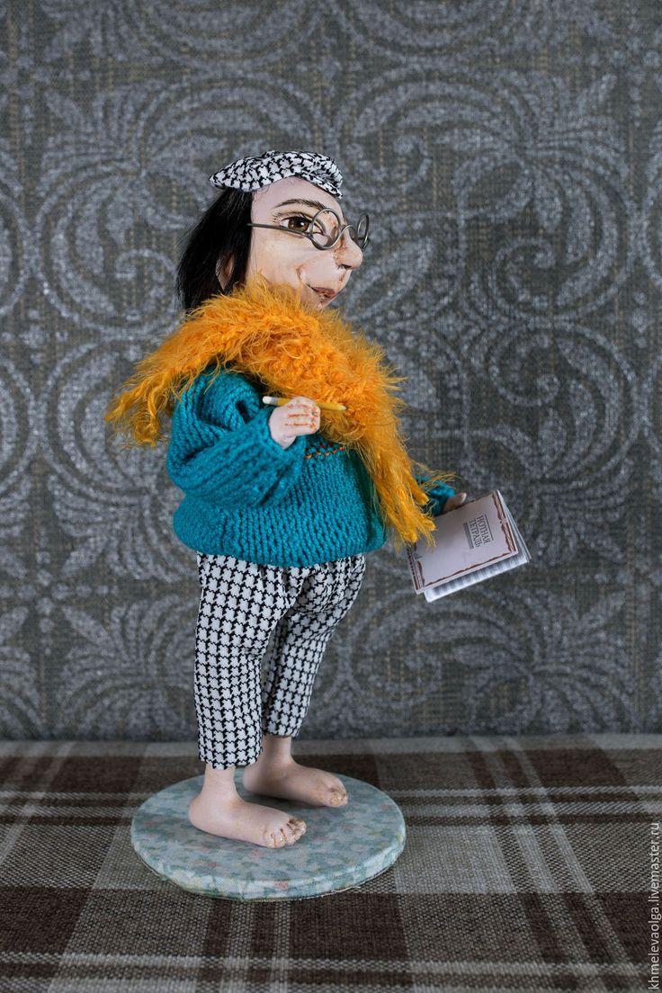 Купить Композитор Филимон - тёмно-бирюзовый, оранжевый шарф, текстильная кукла, кукла интерьерная, dolls