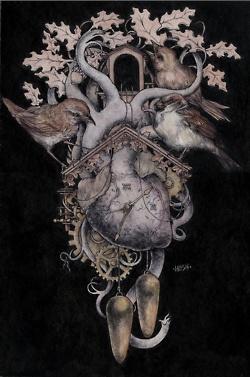 : Jeremyhush, Bound Claw, Inspiration, Heart, Jeremy Hush, Anatomy, Illustration, Clocks, Hush Clark