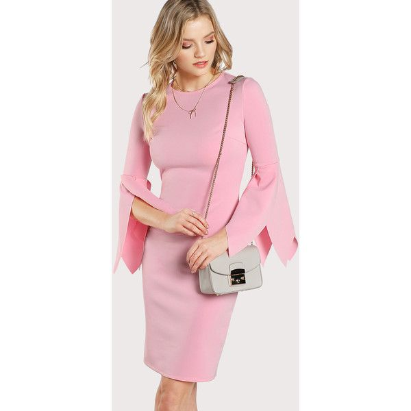 SheIn(sheinside) Asymmetrical Slit Sleeve Fitted Dress ($18) ❤ liked on Polyvore featuring dresses, pink, tight long sleeve dress, summer dresses, bodycon dress, long sleeve day dresses and long sleeve pencil dress