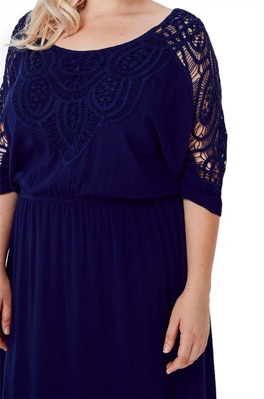 Plus Size Crochet Neckline Dress