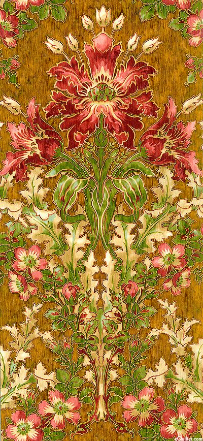 eQuilter Claridge Manor - Morris Flower - English Toffee/Gold: