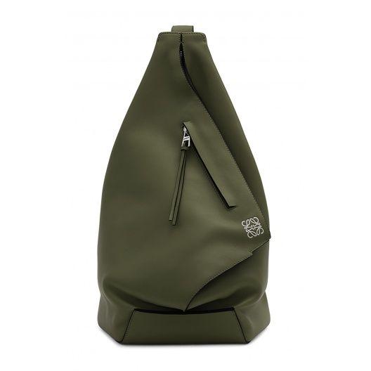 Loewe Backpacks - ANTON BACKPACK Khaki Green - http://www.loewe.com/eu_en/anton-backpack-khaki-green-classic-calf-307-10-j87.html