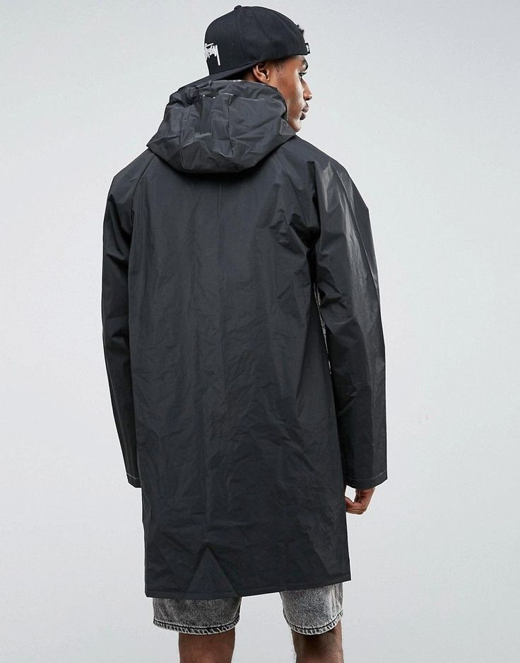 Pull&Bear Waterproof Rain Jacket In Black - Black