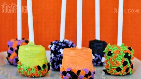 .: Party Treats, Marshmallow Pops, Halloween Marshmallows, Halloween Treats, Halloween Food, Chocolates Dips Marshmallows, Halloween Party, Marshmallows Pop, Marshmallows Treats