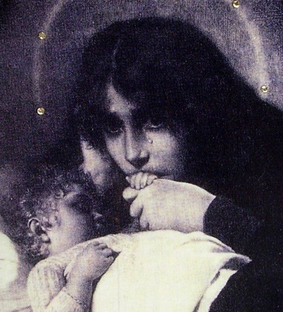 I have this beautiful picture of Mary and Baby Jesus.  It is so beautiful!
