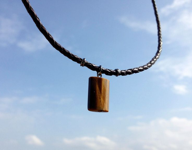Tiger eye mens pendant necklace, brown braided leather cord, male, guys by Atelier63 on Etsy