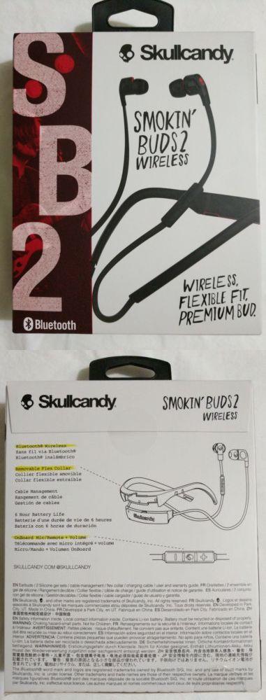Headphones: Skullcandy Smokin Buds 2 In-Ear Bluetooth Wireless Earbuds, Black/Red 0294 -> BUY IT NOW ONLY: $32.0 on eBay!
