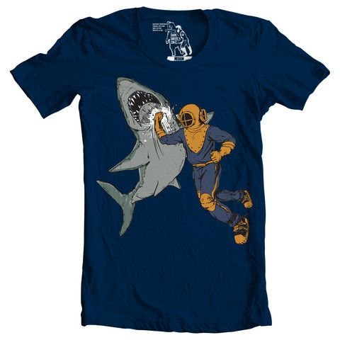 Man Punches Shark T-shirt - Man Cave Ideas  - 1