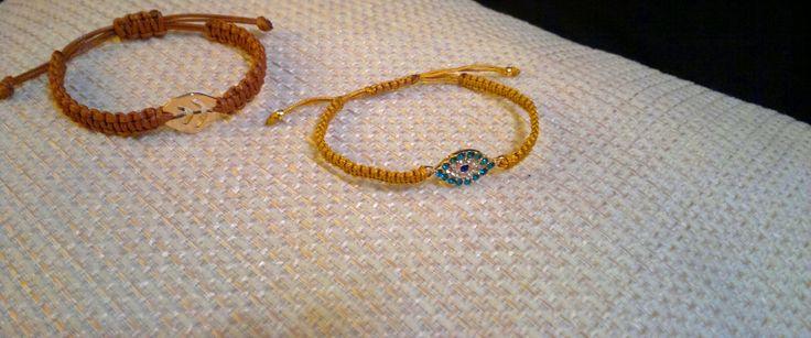 beige,brown macrame bracelets
