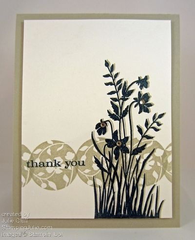 clean & simple just believe thank you card; embossed, shadow stamping