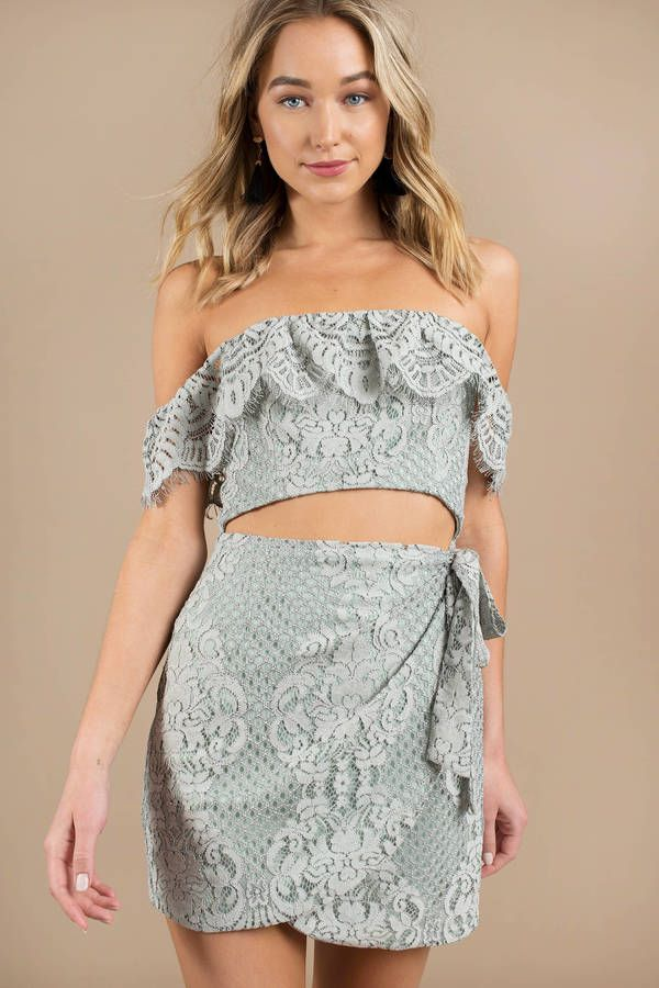 d7e9002e0316 Looking for the Carly Dusty Mint Off Shoulder Wrap Dress