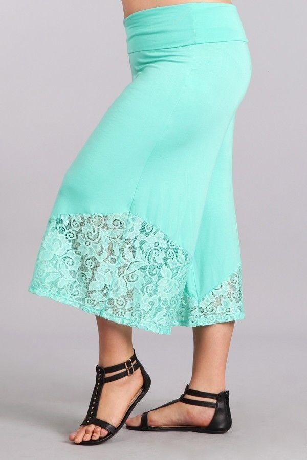 Pant Plus Gaucho High Waist 1X 2X 3X Lace Mint Capri Wide Leg Bohemian Culottes #JerseyGlam #CaprisCropped