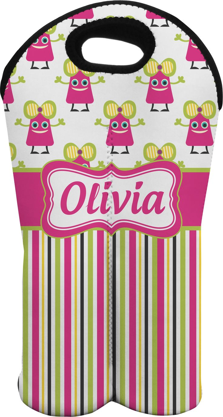 Pink Monsters & Stripes Personalized Wine Tote Bag (2 Bottles)