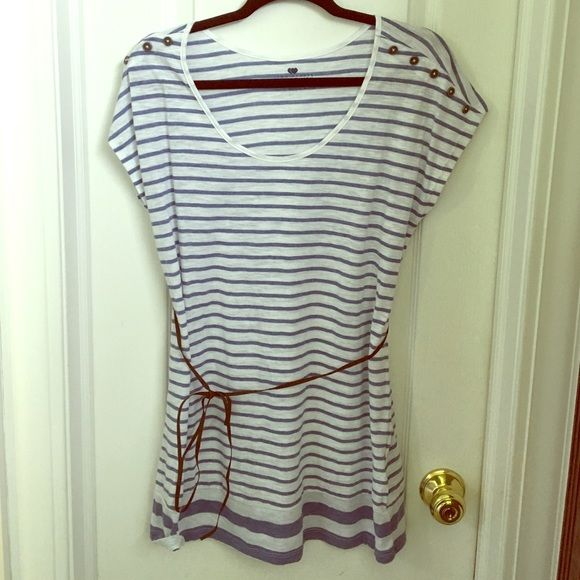 MATERNITY Blue and white striped short sleeve top Blue and white striped short sleeve maternity top. Size medium. Very soft lightweight shirt. Took tags off but never even wore it. Belt feels like leather/suedeish. Two hearts maternity  Tops