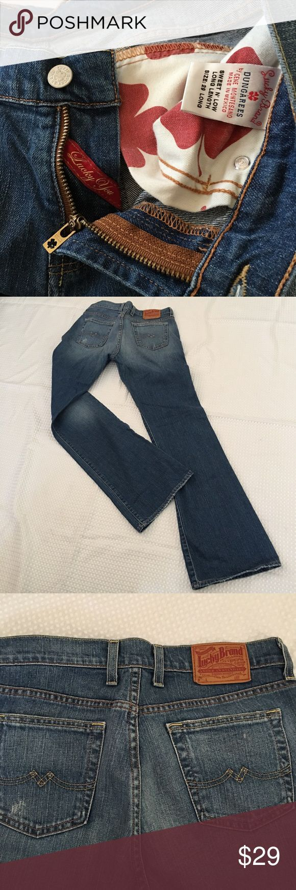 Lucky brand dungarees jeans. Sweet N' Low. 29 L Red clover pockets, sweet and low, size 29 long, inseam 33 1/2, flare, distress on pockets and bottom legs.  Vintage.  EUC no holes or stains. Lucky Brand Jeans Flare & Wide Leg