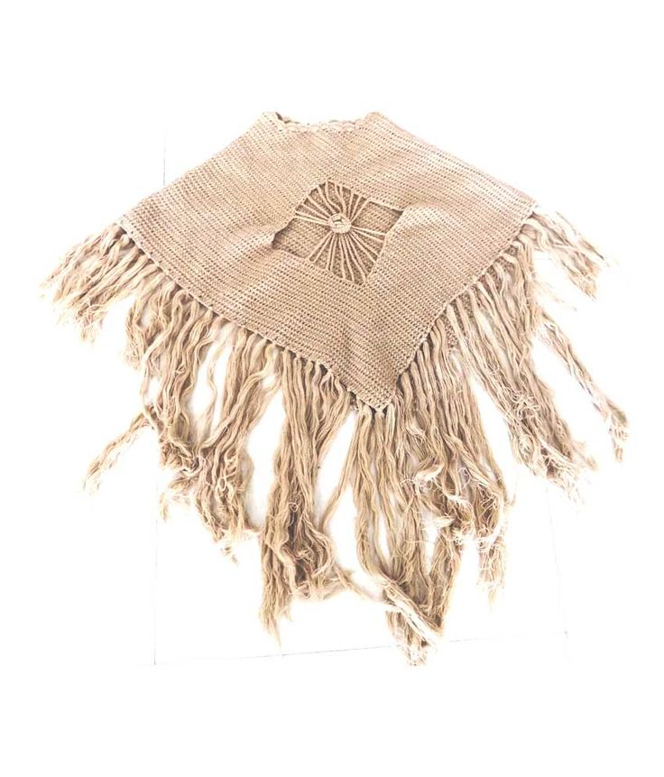 Whyme Fashion Beige Woolen Winter Casual Solid Ponchos For Women