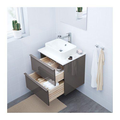 Ikea godmorgon kast, grijs hoogglans, zonder blad, 60x49x58 cm. (bxdxh). €139,- incl. BTW