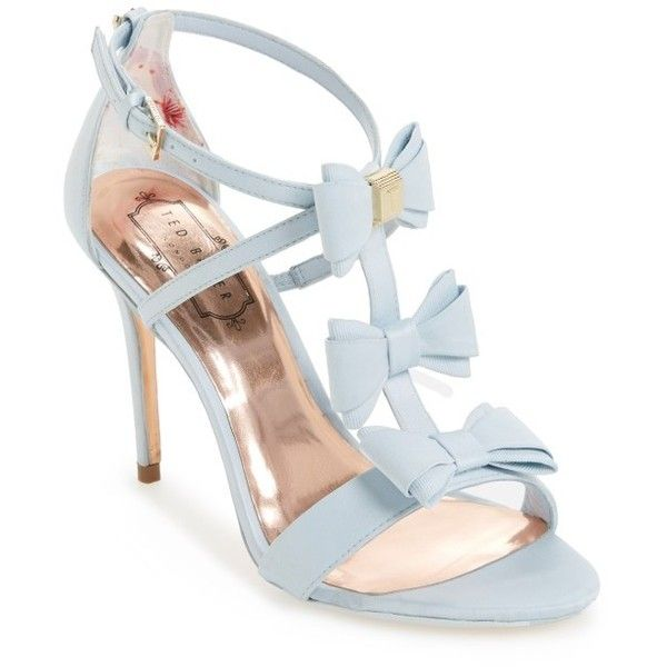 Women's Ted Baker Appolini Bow Sandal ($210) ❤ liked on Polyvore featuring shoes, sandals, light blue fabric, bow shoes, stiletto sandals, stiletto heel sandals, stilettos shoes and ted baker shoes