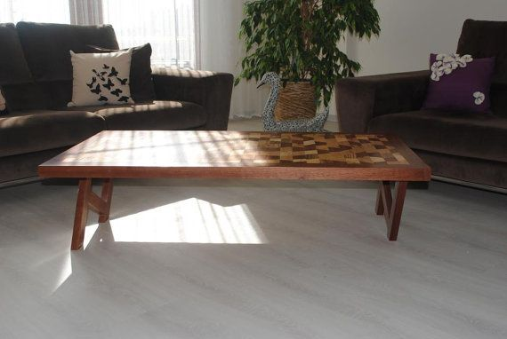 Milky Way Coffee Table - Mahogany frame and legs, beech, pine, Zebrano and mahogany inlaid multi-purpose center stand.