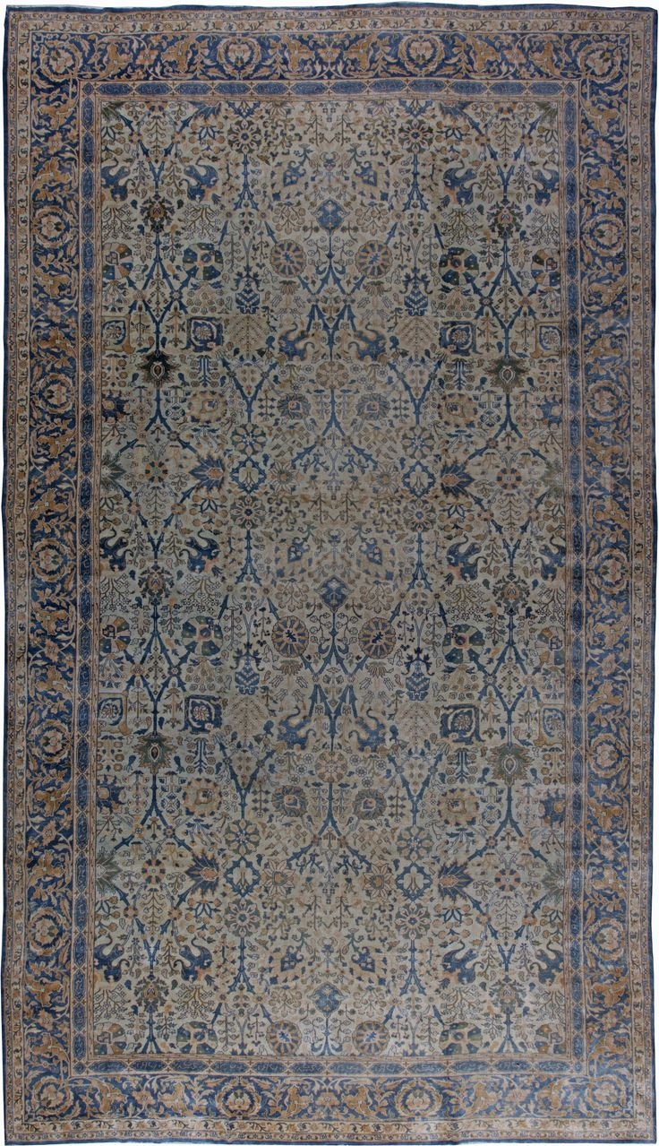 Antique Indian Rug With Blue Ornaments. Interior Living Room Decor With  20th Century Antique Ornamental