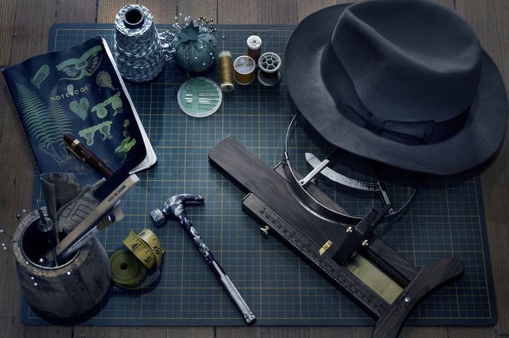 #hats #fedora #tools #blue #thread #sewing #workspace #desk #grid #photography #design #vancouver #fashion #upmarket #luxury #professional #simple #editorial #product #minimalist #minimal #modern #portraits Conceptual Still Life Credit: by Vancouver, BC commercial photographer Andrew Willis