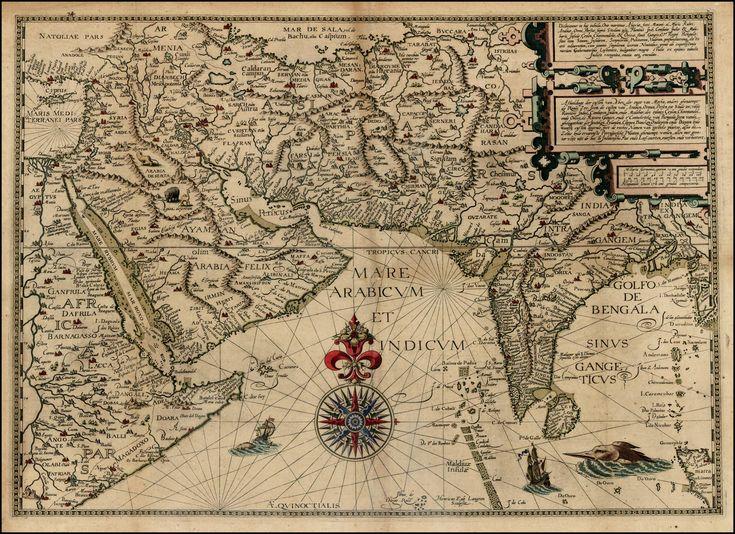 Antique Indian map, circa 1500.