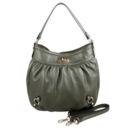 Karla Hanson - Army Green Hobo Bag - $199.00/each This Ladies Fashion Crossbody Bag is made from cow leather with a golden finish, approximately 32 x 6 x 33-21 cm. Presented by www.ecomcreator.com