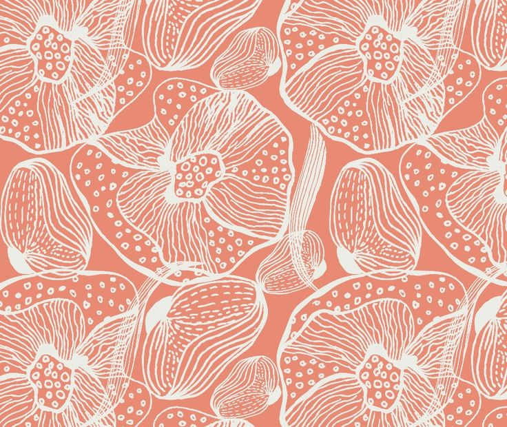 Orchid - Spiced Coral textile and wallpaper print