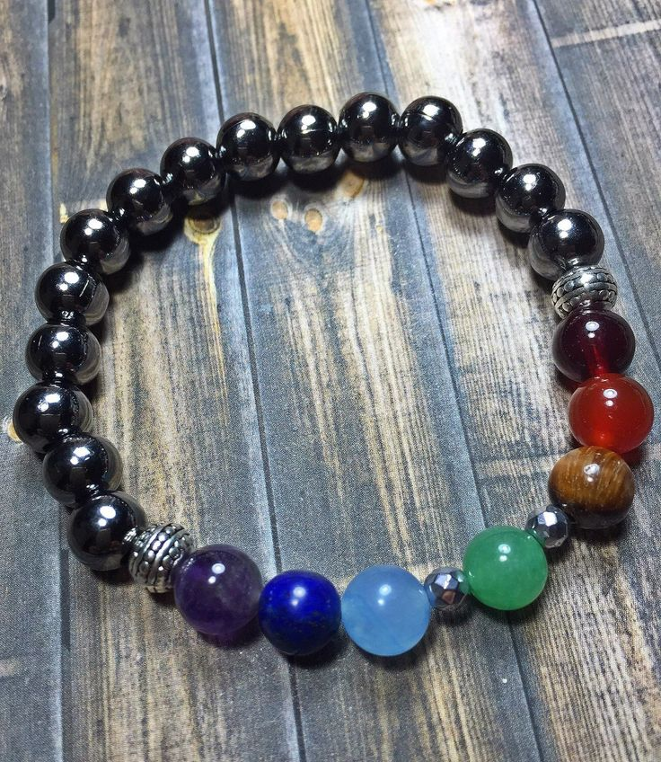 7 Chakra Hematite Bracelet, Meditation Bracelet, Energy, Balance, Rainbow, Yoga, Mala, Jewelry